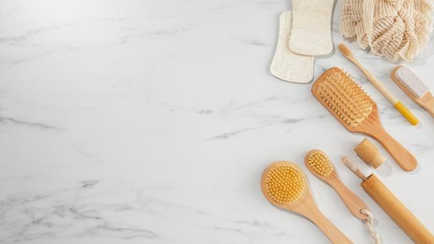 Rama produktów higieny ekologicznej widok z góry