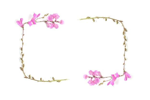 Rama różowe i zielone kwiaty