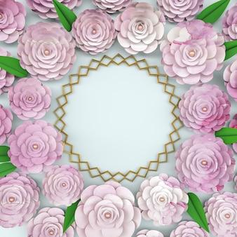 Rama tło koło z kwitnących kwiatów róży.