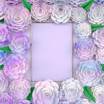 Rama tło z kwitnących kwiatów róży.