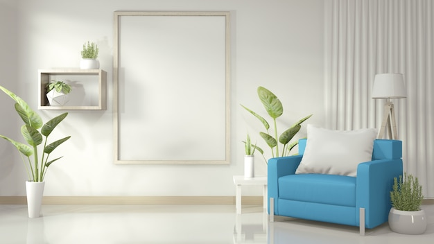 Rama w białym salonie z niebieskim fotelem i roślinami dekoracyjnymi na białej błyszczącej podłodze, rendering 3d