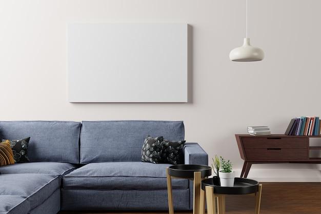 Rama w nowoczesnej ścianie wewnętrznej, salon, styl skandynawski