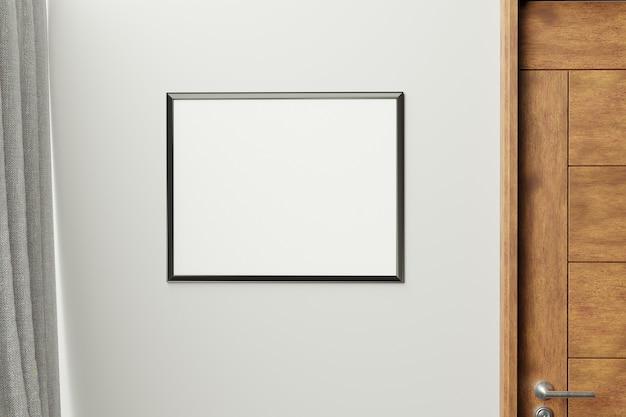 Rama w nowoczesnej ścianie wewnętrznej., z bliska, salon