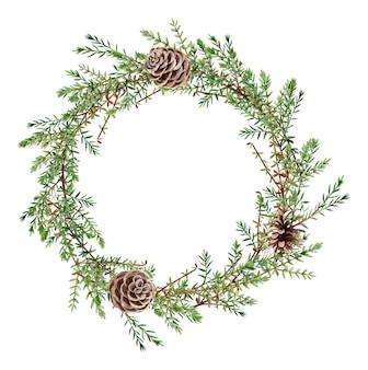Rama wieniec akwarela leśnej zieleni. ilustracja botaniczna.