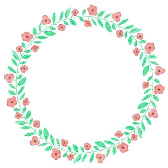 Rama wieniec kwiatów akwarela
