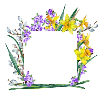 Rama wiosennych kwiatów. żółte narcyzy, gałęzie bzu i wierzby. akwarela ilustracja