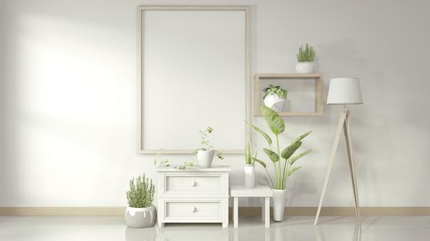 Rama z białymi szafkami i dekoracjami na błyszczącej podłodze, rendering 3d