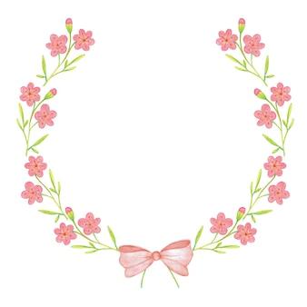 Rama z pięknym różowym kwiatem i wstążką