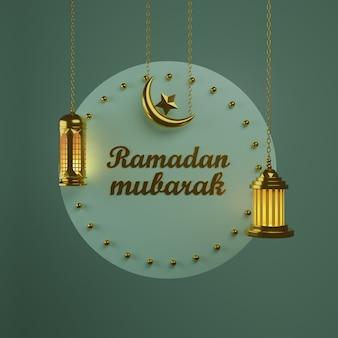 Ramadan concept 2021. półksiężyc i lampa wisząca złoty luksusowy półksiężyc. premia