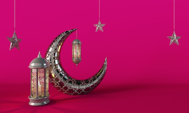 Ramadan kareem crescent moon and lantern lightning różowe tło