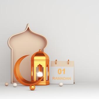 Ramadan kareem islamska dekoracja z życzeniami z arabską latarnią w kształcie półksiężyca