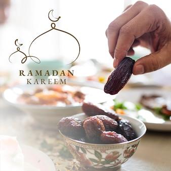 Ramadan kareem post w mediach społecznościowych z powitaniem
