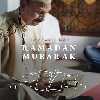 Ramadan mubarak post w mediach społecznościowych z powitaniem