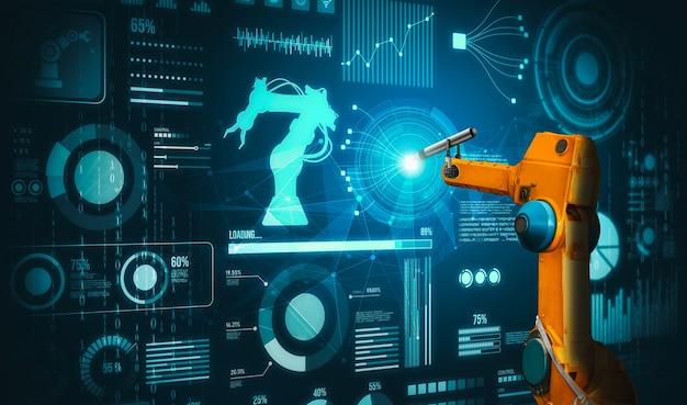 Ramię robota ai analizujące matematykę w celu rozwiązywania problemów przemysłu zmechanizowanego