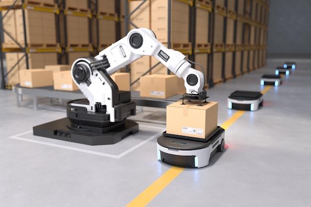Ramię robota podnosi pudełko do transportu autonomicznego robota w magazynach