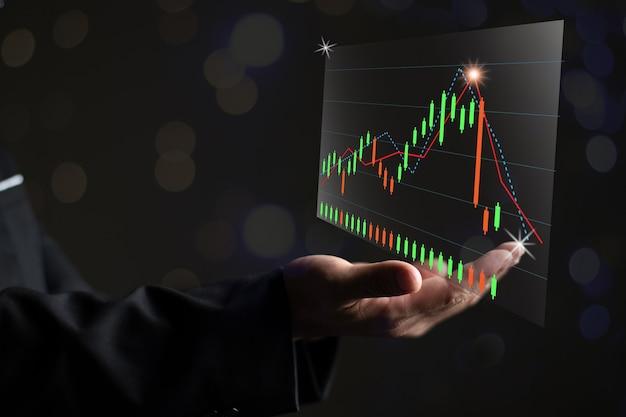 Ramię z wykresem giełdowym, grafika wektorowa podwójnej ekspozycji cypto i koncepcja biznesowa giełdowa, wzrost ekonomiczny i ciemny bokeh
