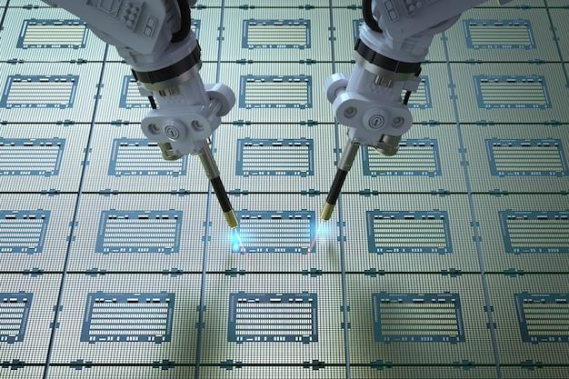 Ramiona robotów do renderowania 3d z chipsetem do produkcji półprzewodników