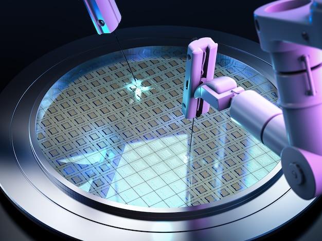 Ramiona robotów z płytkami krzemowymi do półprzewodników