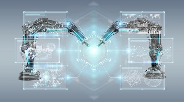 Ramiona robotyki z renderowaniem 3d na ekranie cyfrowym