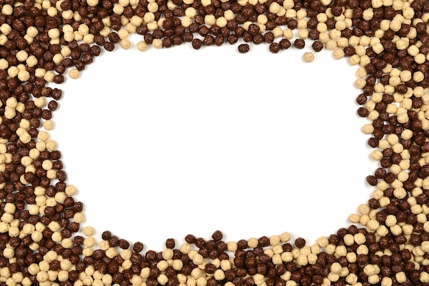 Ramka czekoladowe płatki kukurydziane na białym tle