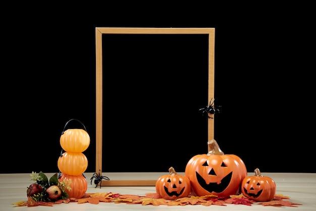 Ramka i jack o lantern dynia halloween dekoracji z kapeluszem wiedźmy