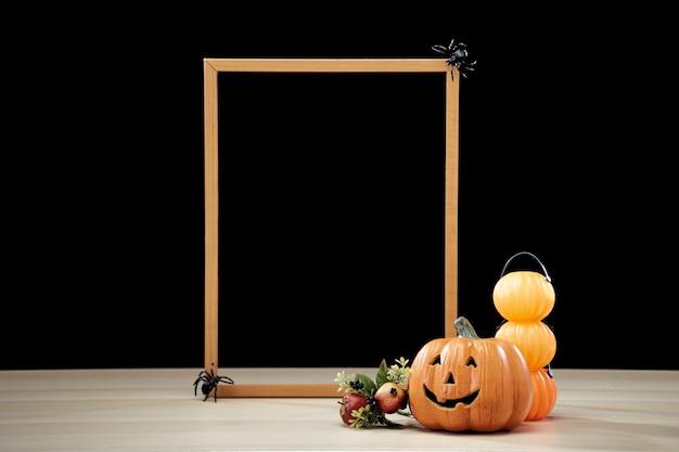 Ramka i jack o lantern halloween dekoracji dyni