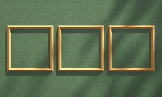 Ramka na zdjęcia 3d na półce z cieniem drzewa na zielonej i pomarańczowej ścianie, tło makiety produktu letniego, ilustracja renderowania 3d