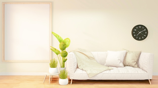 Ramka na zdjęcia do grafiki, biała sofa na wnętrze pokoju na poddaszu, pomarańczowy projekt na ścianie z cegły. renderowanie 3d