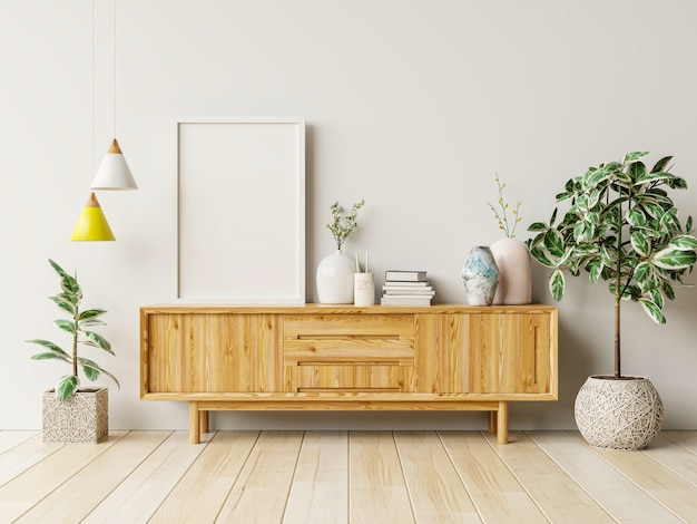 Ramka na zdjęcia makiety na drewnianej szafce z pięknymi roślinami, renderowanie 3d