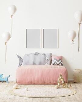 Ramka na zdjęcia w pokoju dziecięcym z różową sofą i miękkimi zabawkami w renderowaniu 3d