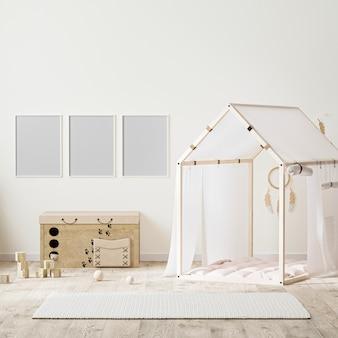 Ramka na zdjęcia w stylu indyjskim wnętrze pokoju dziecięcego z namiotem, komoda dla dzieci i zabawkami, renderowanie 3d