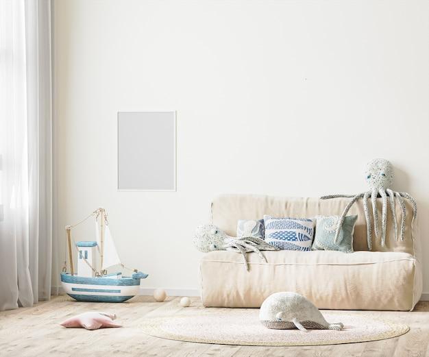 Ramka na zdjęcia we wnętrzu pokoju dziecięcego z łóżkiem i miękkimi zabawkami w renderowaniu 3d