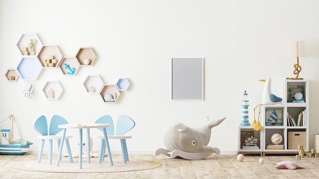 Ramka na zdjęcia we wnętrzu pokoju zabaw dla dzieci z zabawkami, meblami dla dzieci, stołem z krzesłami, półkami renderowaniem 3d