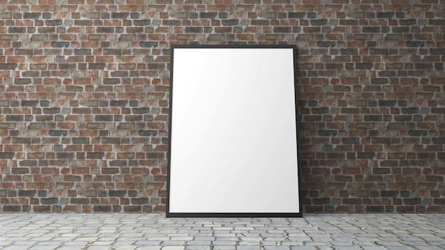 Ramka na zdjęcia z tłem ceglanego muru w renderowaniu 3d