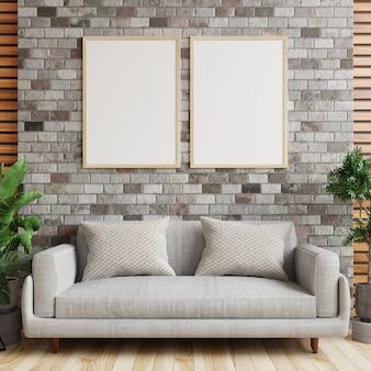 Ramka na zdjęcie na ceglanej ścianie w nowoczesnym salonie z sofą i roślinami