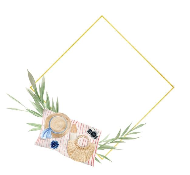 Ramka piknikowa, zielone liście i gałęzie