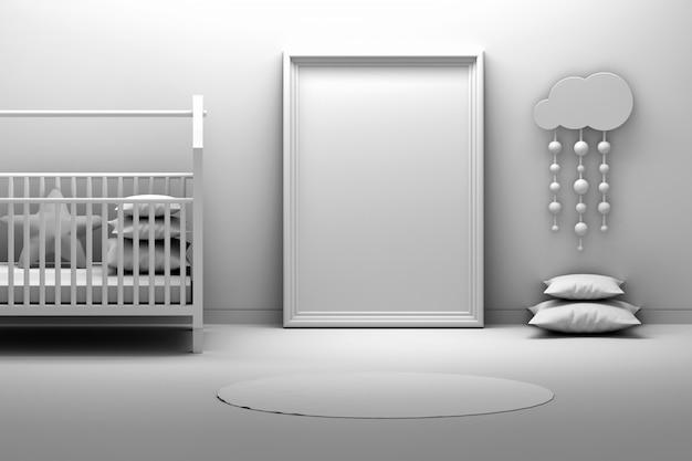 Ramka prezentacyjna w rom dla dzieci z kołyską w kolorze czarno-białym