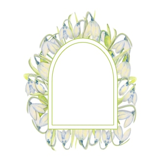 Ramka romantyczna wiosna z przebiśniegi na zewnętrznej krawędzi na białym tle na białym tle. akwarela ilustracja.