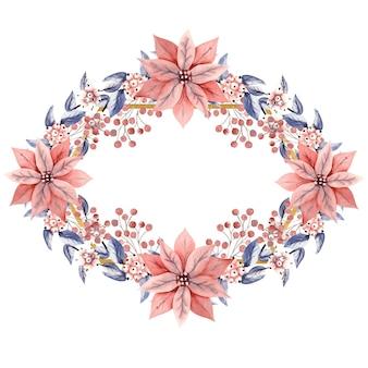 Ramka w kształcie rombu z akwarelowymi gałązkami śnieżnych jagód i kwiatami poinsecji.