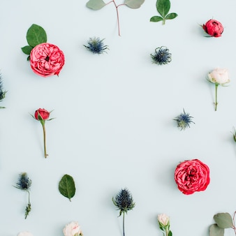 Ramka w kwiaty z beżowych i czerwonych róż, gałązki eukaliptusa na bladym, pastelowym błękicie