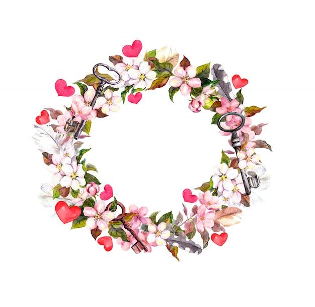 Ramka wieniec kwiatowy - różowe kwiaty, pióra boho, serca i zabytkowe klucze. akwarela na walentynki, wesele