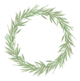 Ramka zieleni, zielone liście i gałęzie na wieńcu, elementy projektu akwarela, ilustracja.