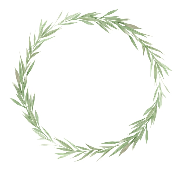 Ramka zieleni, zielone liście i gałęzie na wieńcu