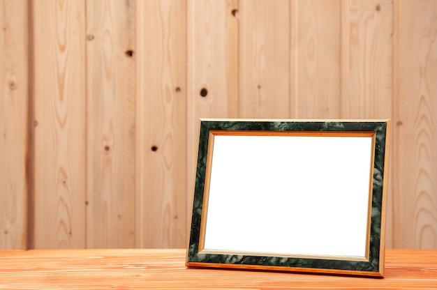 Ramka złota z błękitną wstawką na zdjęcia i obrazy