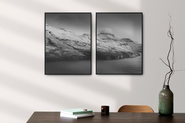 Ramki na zdjęcia wiszące na ścianie skandynawski wystrój wnętrz