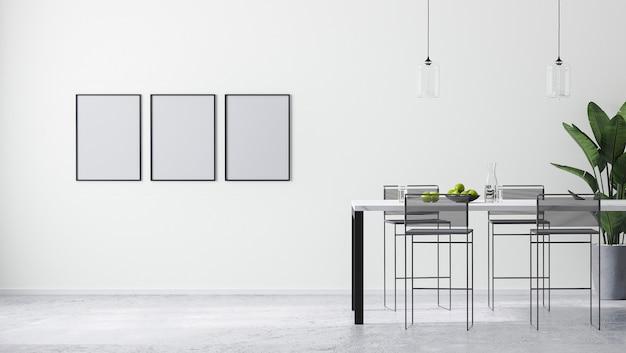 Ramki plakatowe makiety w nowoczesnym, jasnym białym pokoju z nowoczesnym stołem barowym i stołkami barowymi, skandynawskim minimalistycznym stylem, renderowaniem 3d