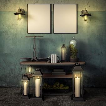 Ramki w rustykalnym etapie ciemne wnętrze renderowania 3d, ilustracja 3d