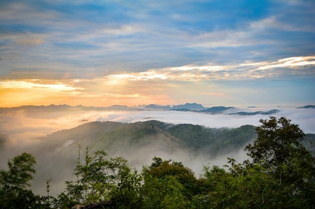 Ranek sceny wschodu słońca krajobrazu ranek z mgła wschodem słońca nad mglistym