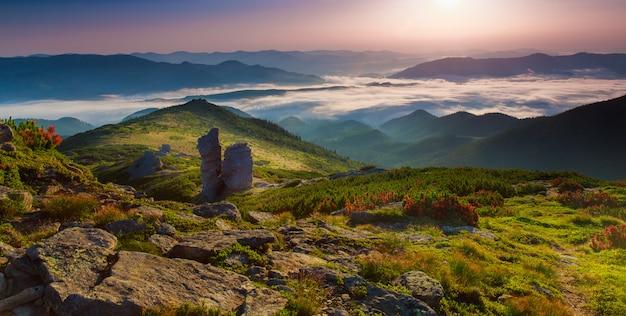 Rano górski krajobraz płaskowyżu