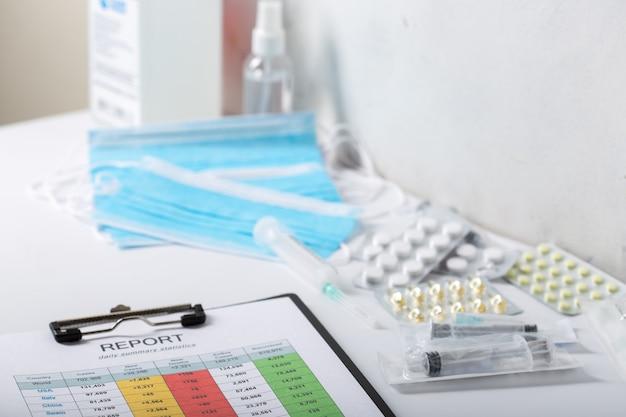 Raport o liczbie pacjentów na stole lekarskim.